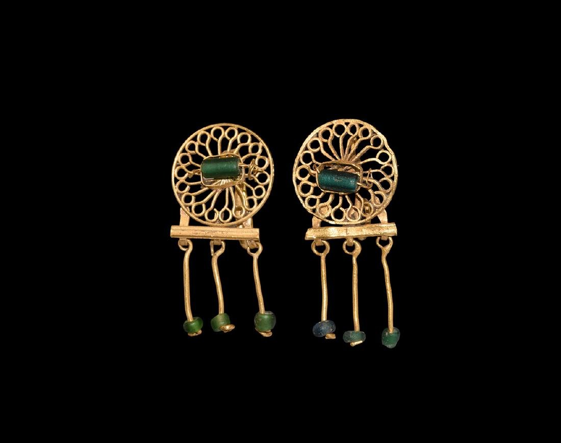 Roman Gold Earrings with Bead Drops