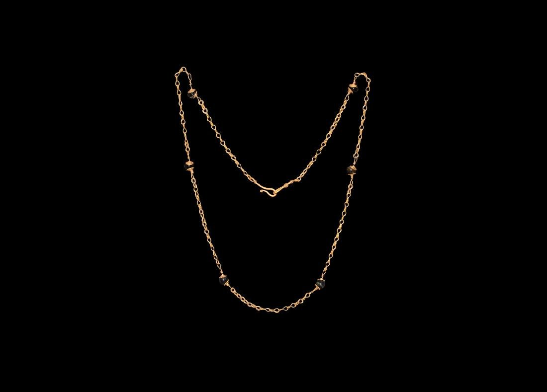 Roman Gold Chain with Glass Beads