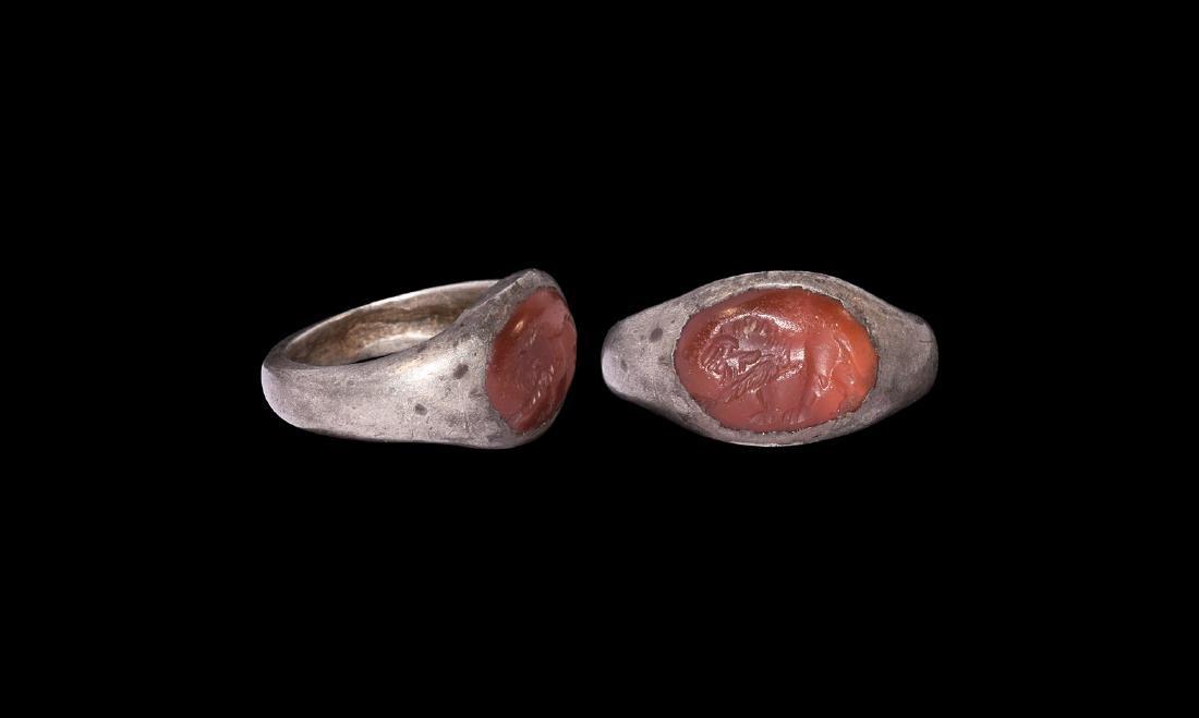 Roman Silver Ring with Lion Intaglio