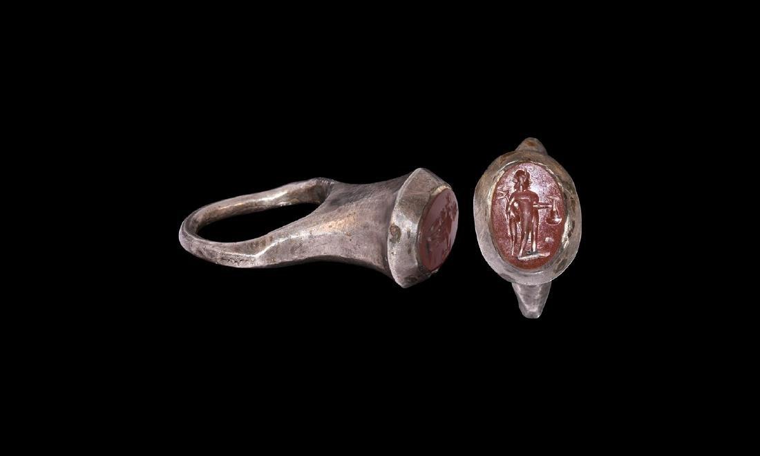 Roman Silver Ring with Mercury Intaglio