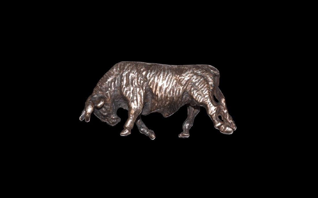 Roman Silver Charging Bull Statuette