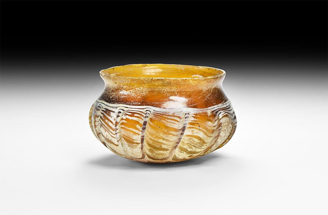 Roman Ribbed Amber Glass Vessel