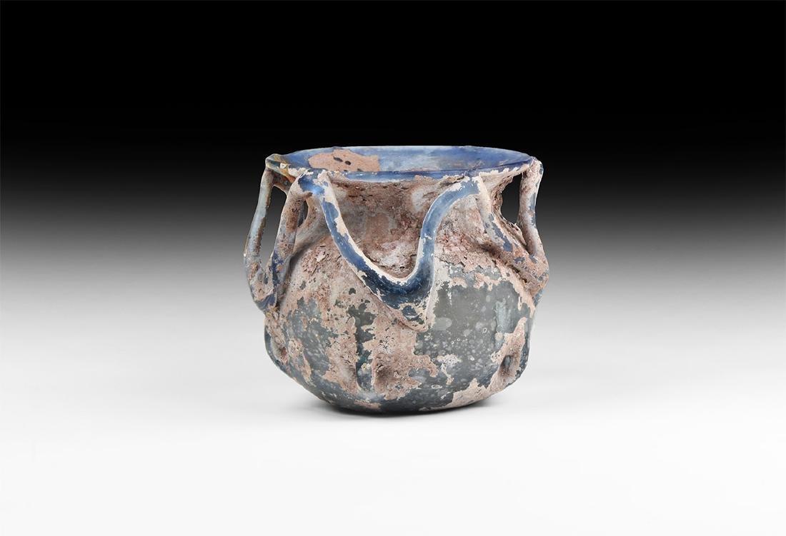 Roman Blue Glass Vessel with Trail