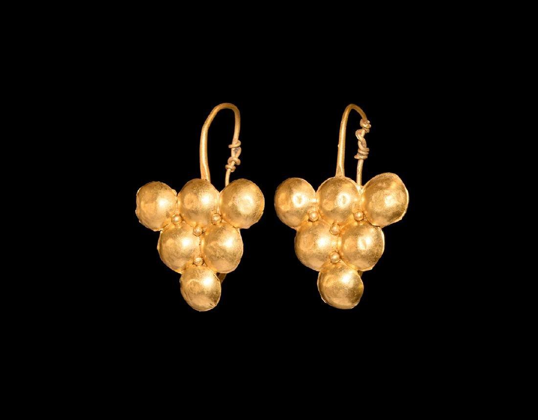 Roman Gold Grape Earrings