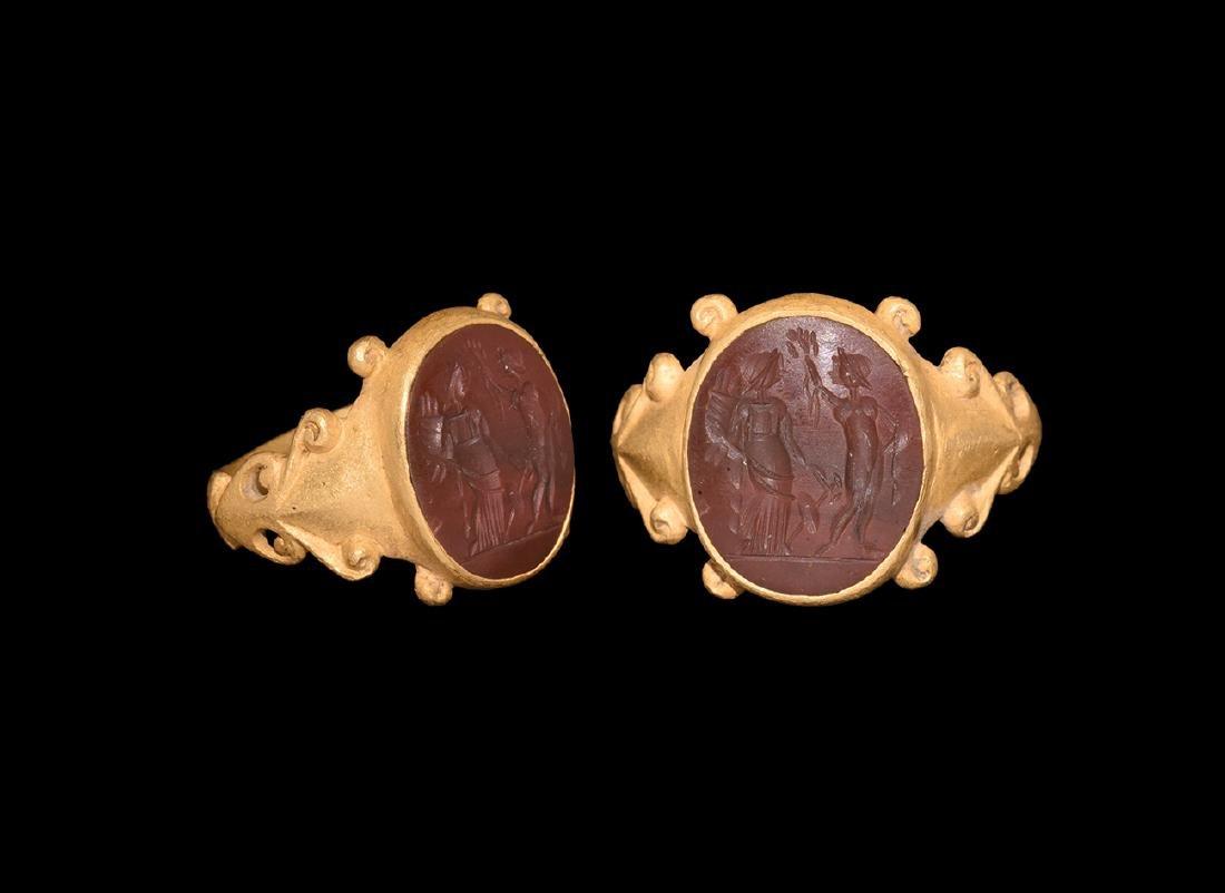 Roman Fortuna and Venus Intaglio in Gold Ring