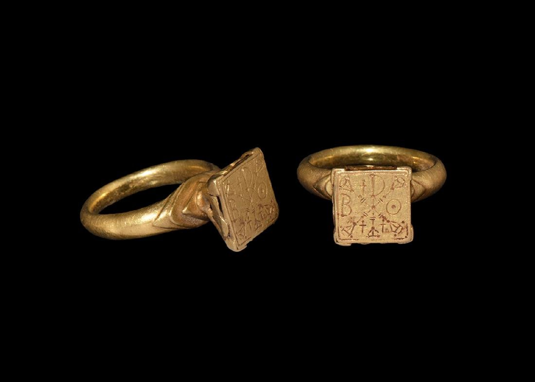 Byzantine Gold Ring with Cross Monogram