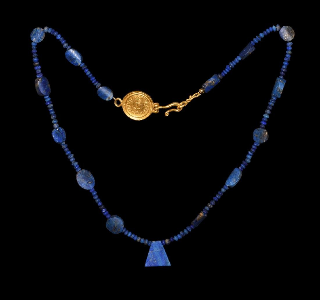 Lapis Lazuli Necklace with Gold Coin Clasp