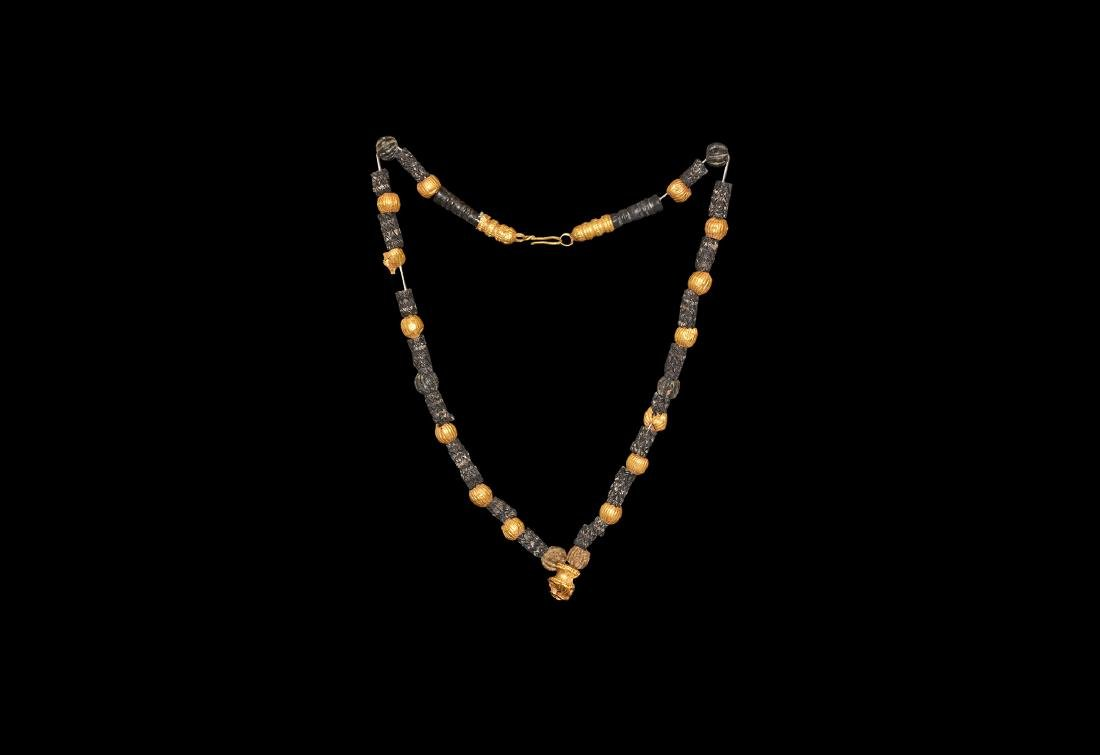 Byzantine Gold and Glass Bead Necklace