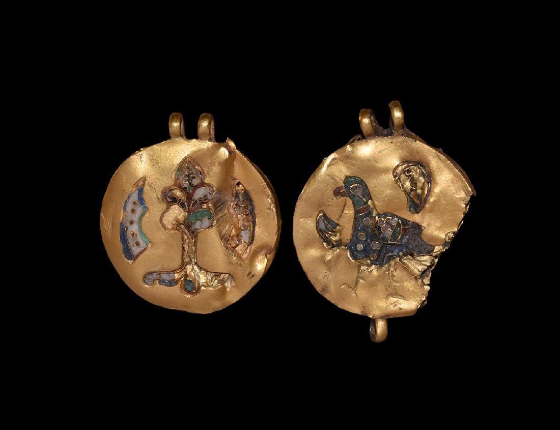 Byzantine Enamelled Gold Pendant Pair