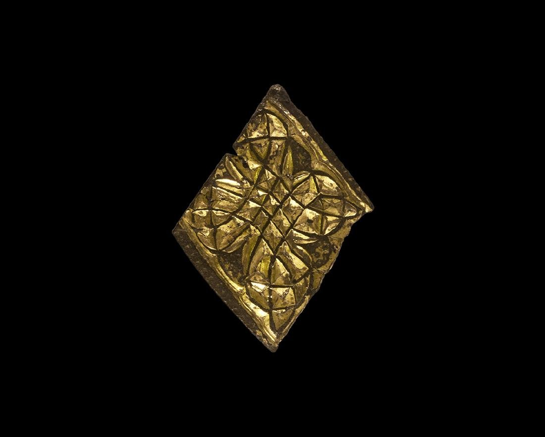 Anglo-Saxon Gold Chip-Carved Bronze Mount