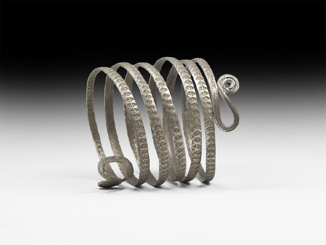 Viking Silver Double-Tailed Serpent Bracelet