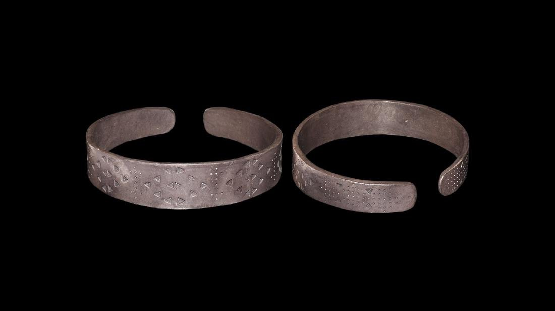 Viking Silver Bracelet with Punched Design