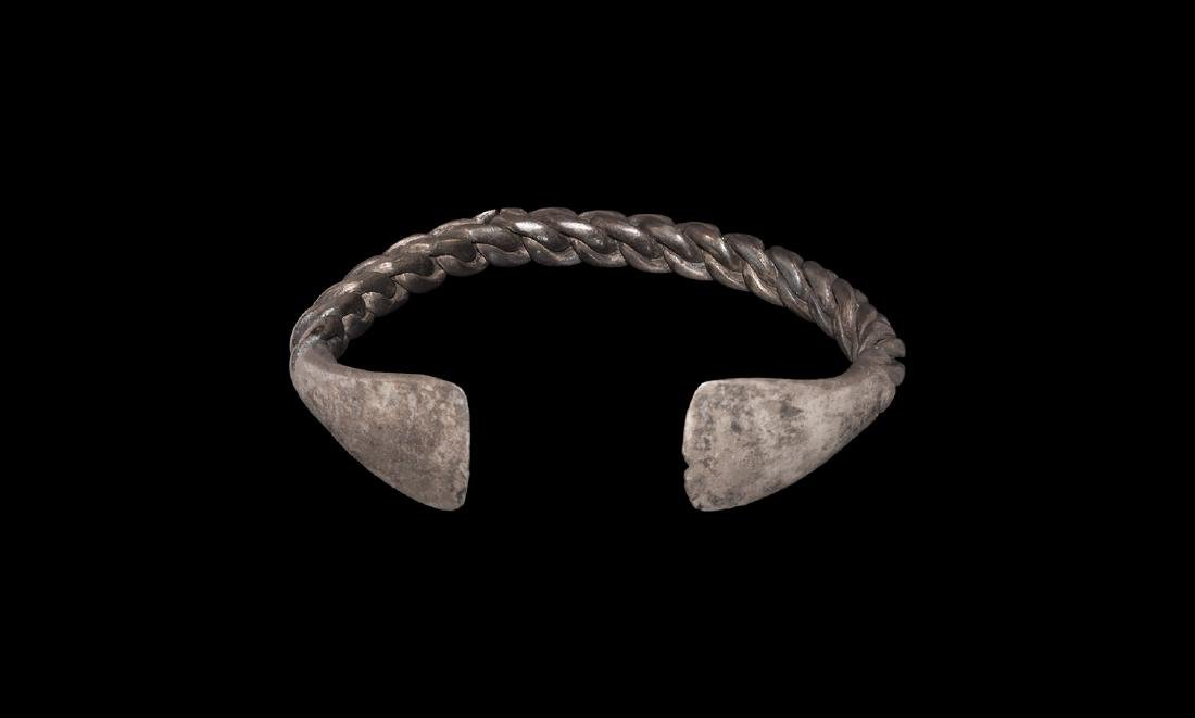 Viking Silver Plaited Bracelet with Terminals