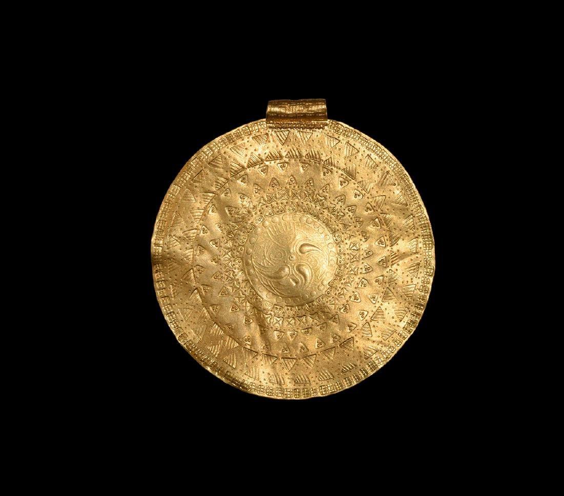 Pre-Viking Scandinavian Gold Bracteate Pendant