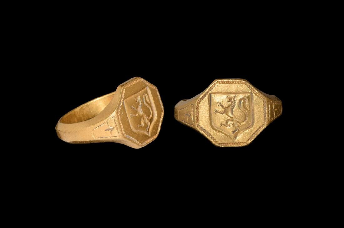 Medieval Signet Ring with Rampant Lion