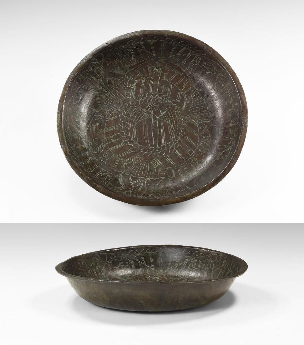 Medieval Bowl with 'Dom Tria Dei' Inscription