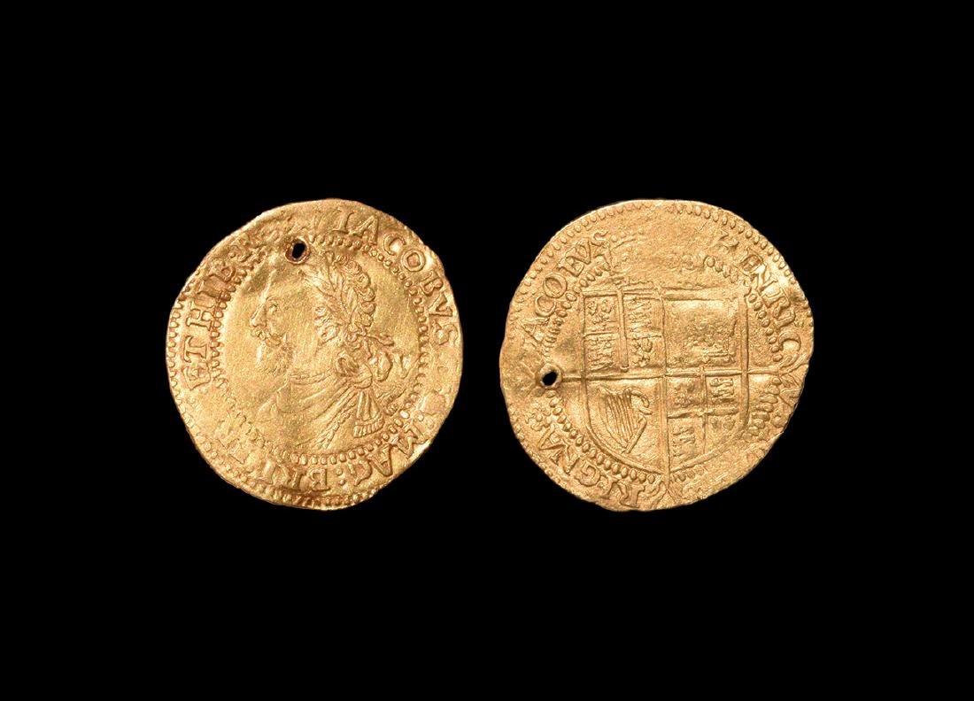 Gold Quarter Laurel Love Token Pendant