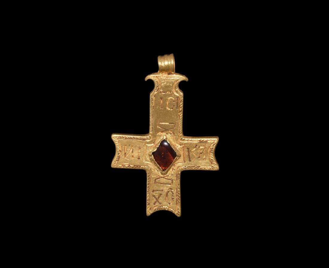 Byzantine Gold Inscribed Cross Pendant