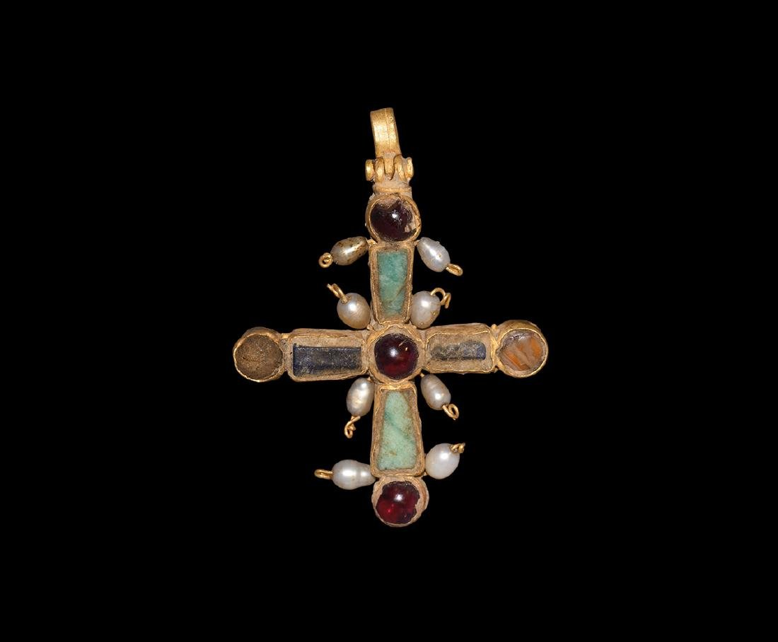 Byzantine Gold Jewelled Cross with Pearls