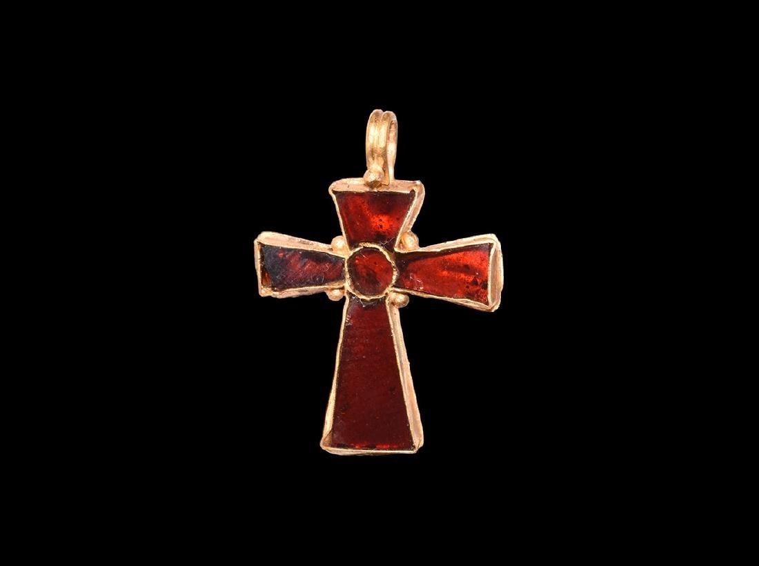 Byzantine Gold and Garnet Cross Pendant