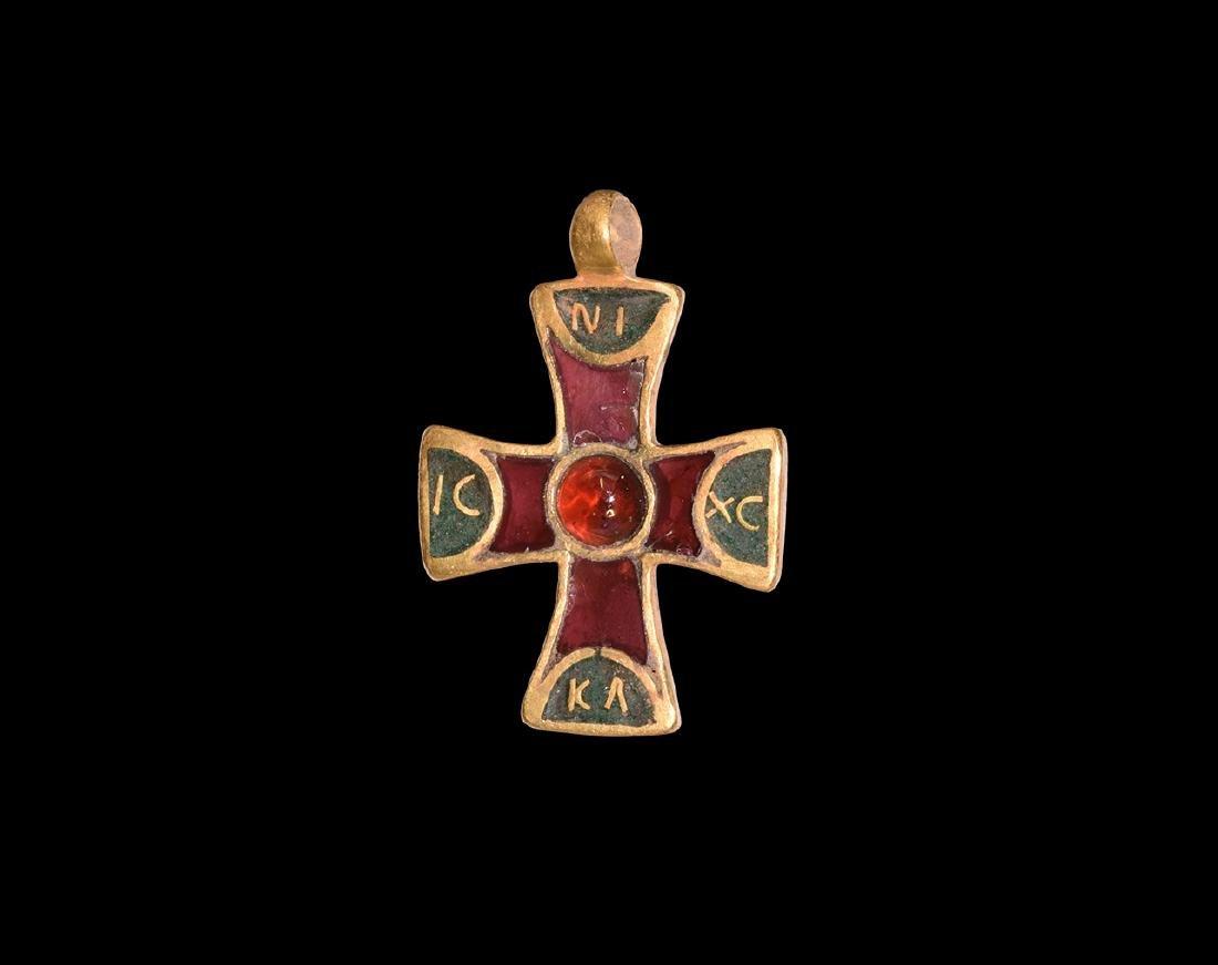 Post Medieval Gold and Garnet Cross Pendant