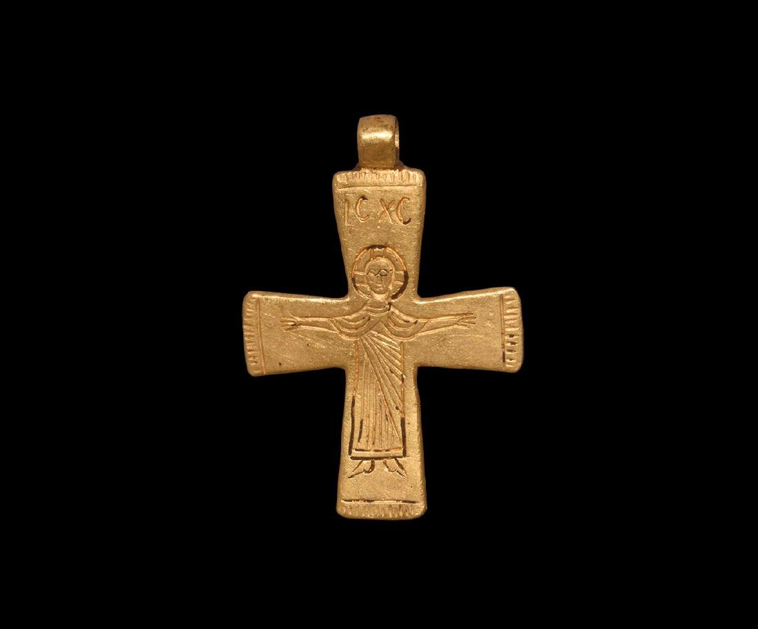 Post Medieval Gold Inscribed Cross Pendant