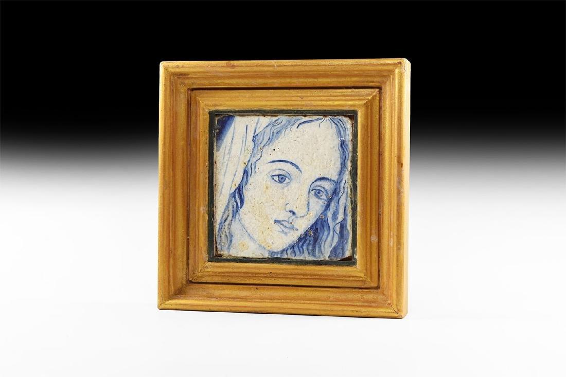 Post Medieval Florentine Virgin Mary Tile