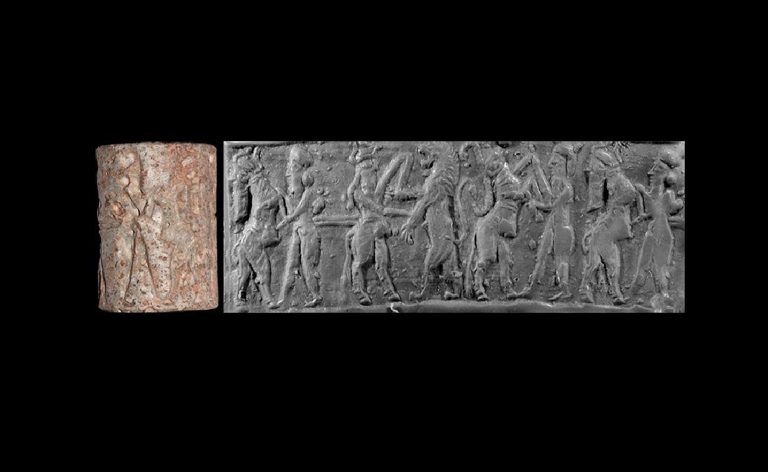 Old Akkadian Cylinder Seal with Combat Scene