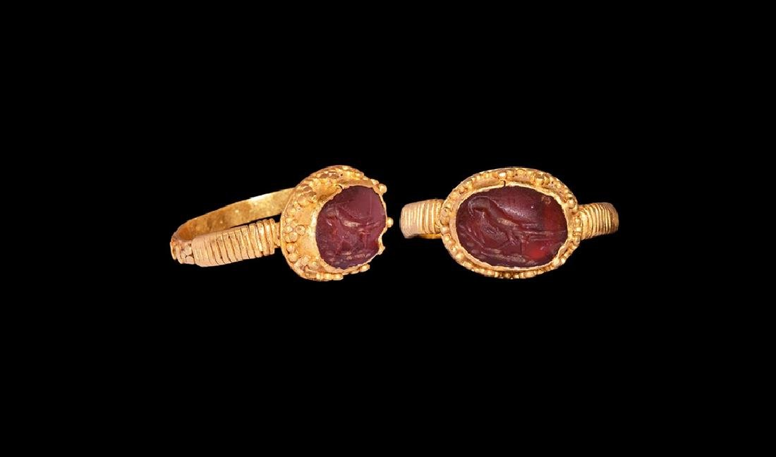 Sassanian Gold Ring with Bird Intaglio
