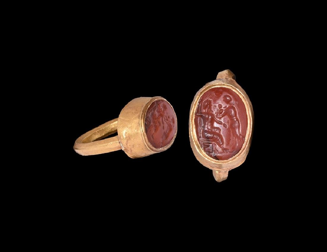 Sassanian Gold Ring with Figural Intaglio