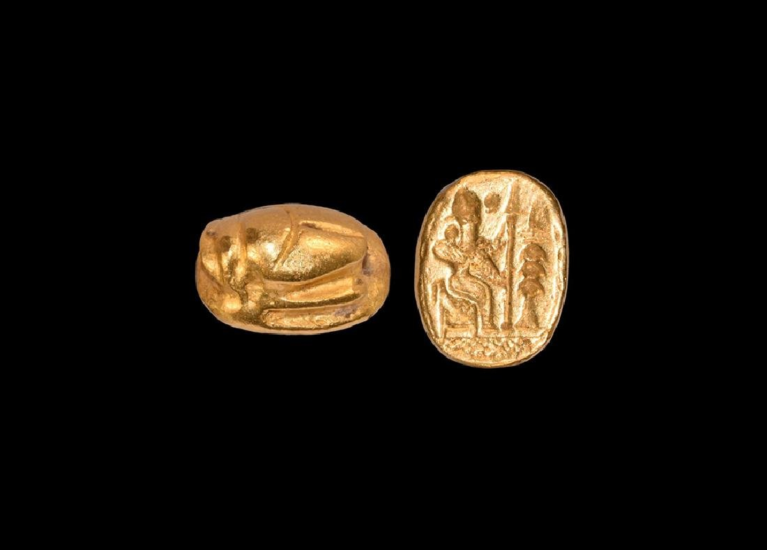 Western Asiatic Gold Inscribed Scarab