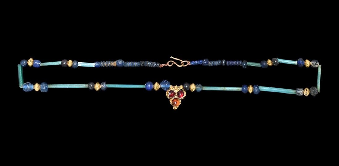 Achaemenid Gold and Blue Bead Necklace