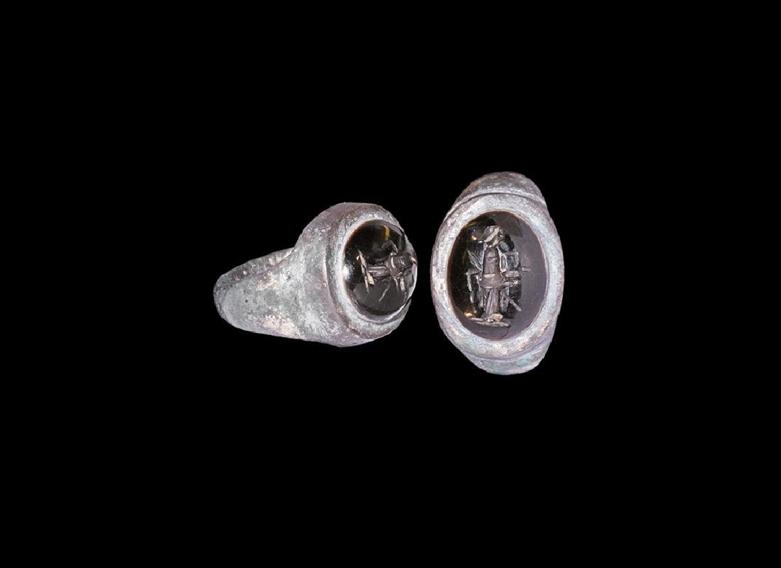 Sassanian Silver Ring with Female Intaglio