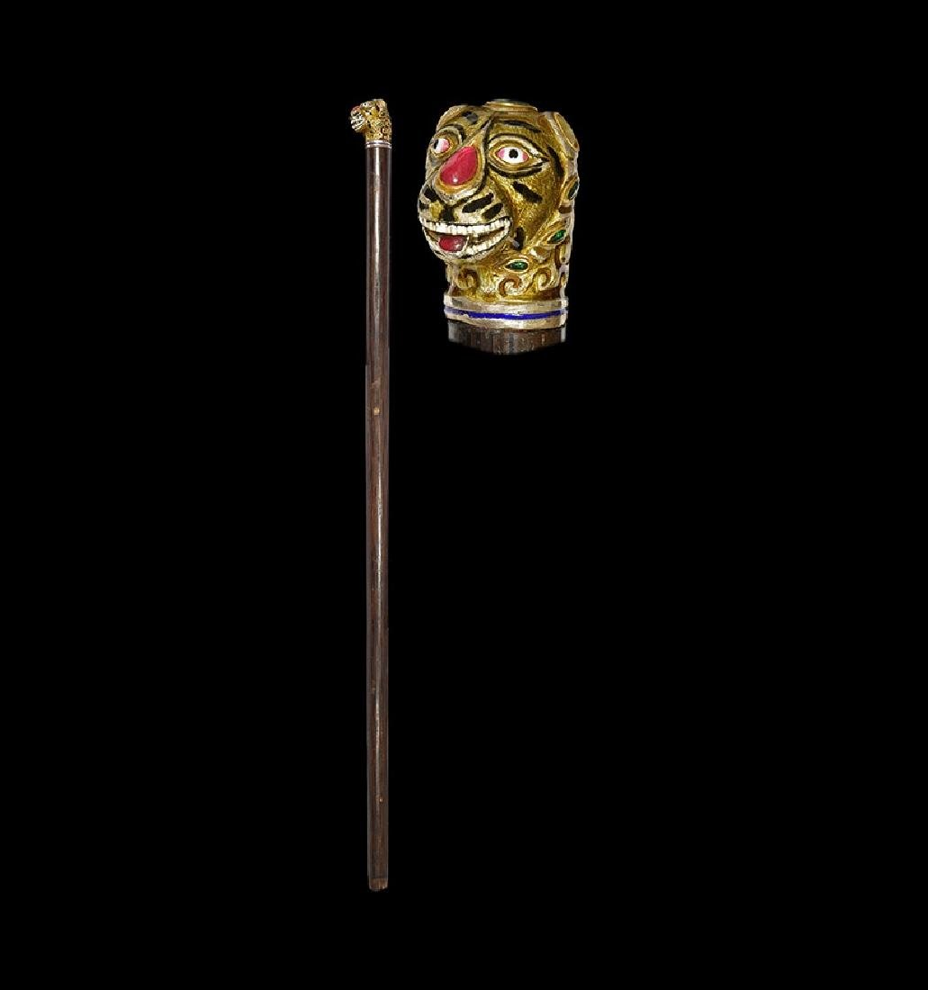 Mughal Walking Stick with Rubies and Emeralds