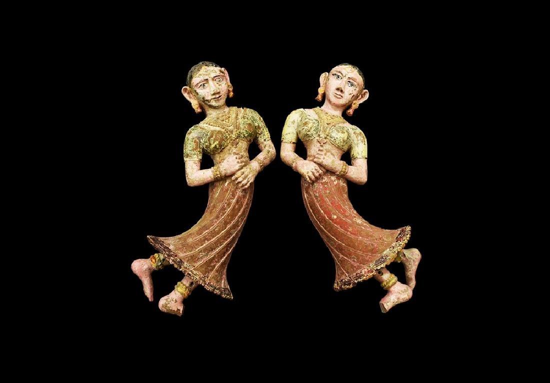 Indian Dancing Temple Figure Pair