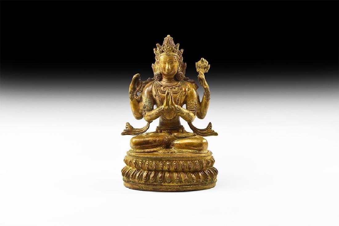 Tibetan Gilt Multi-Armed Avalokiteshvara