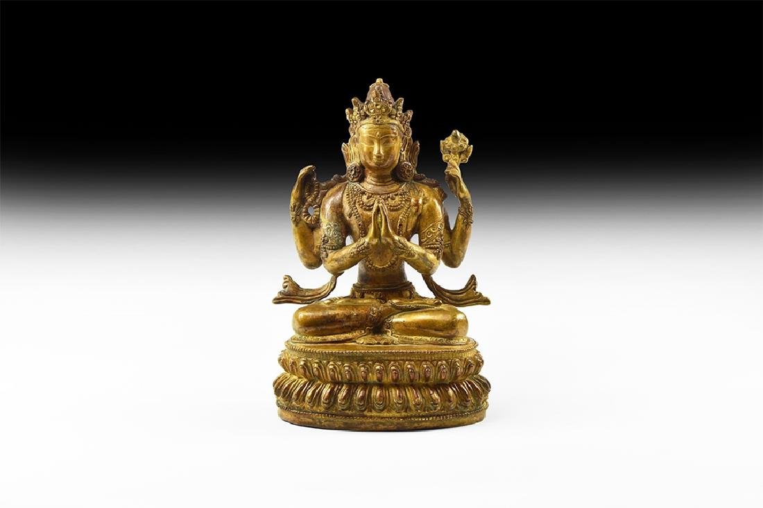 Tibetan Gilt Multi-Armed Avalokiteshvara