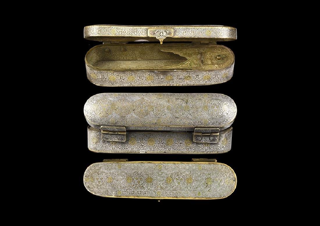 Islamic Ottoman Silver-Inlaid Pen Box