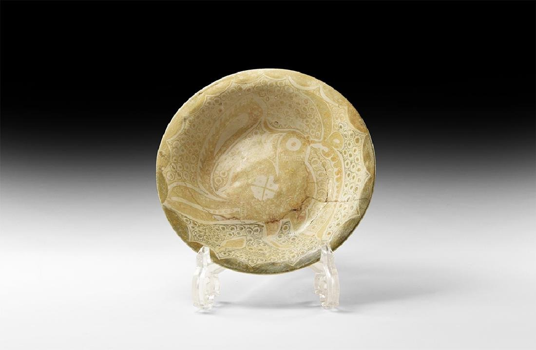 Islamic Samanid Glazed Dish with Bird