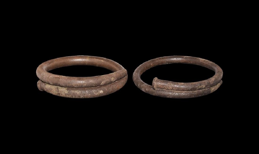 Bronze Age Large Decorated Arm-Ring Pair