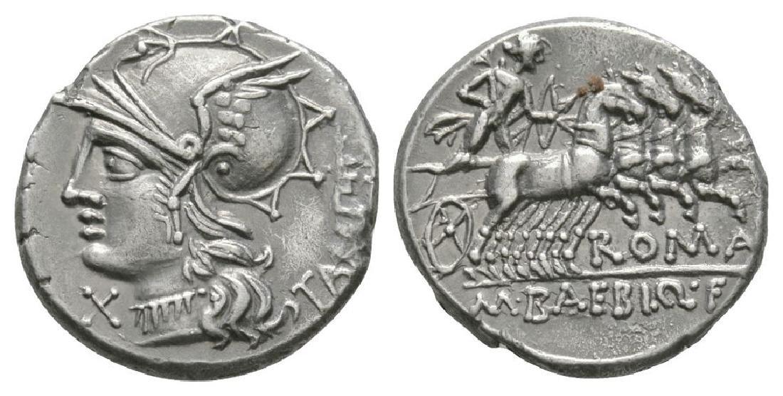 M Baebius Q f Tampilus - Apollo Denarius