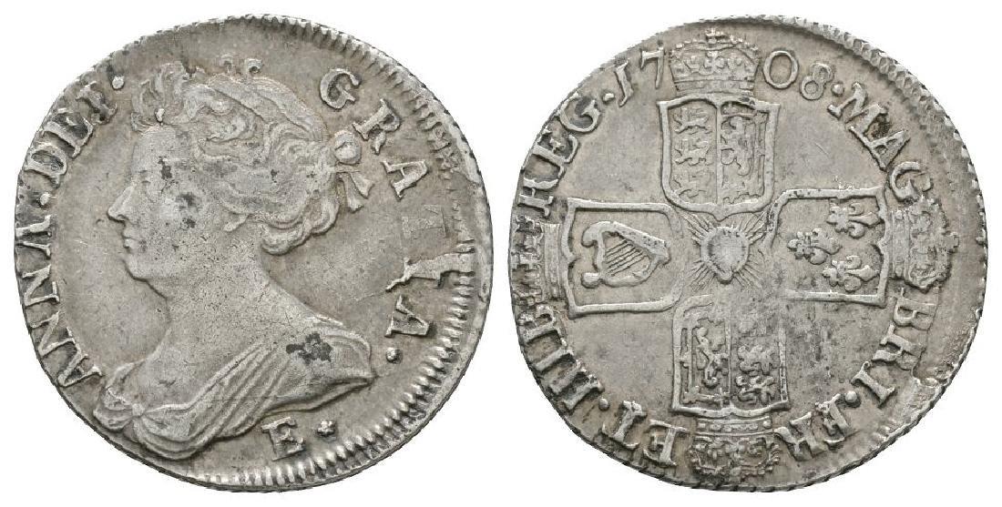 Scotland - Anne - 1708 E* - Mis-Struck Shilling