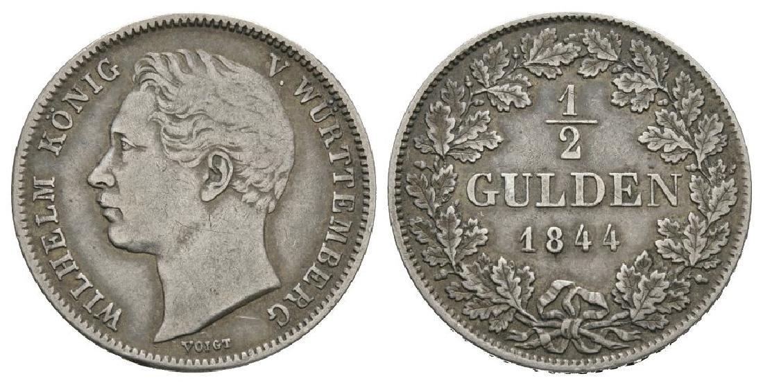 Germany - Wurtemberg - 1844 - 1/2 Gulden