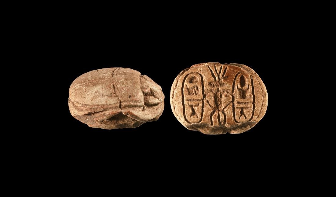 Large Scarab with Royal Cartouche and Bes