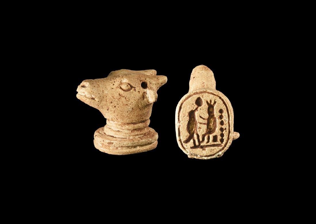 Egyptian Bull's Head with Hieroglyphs