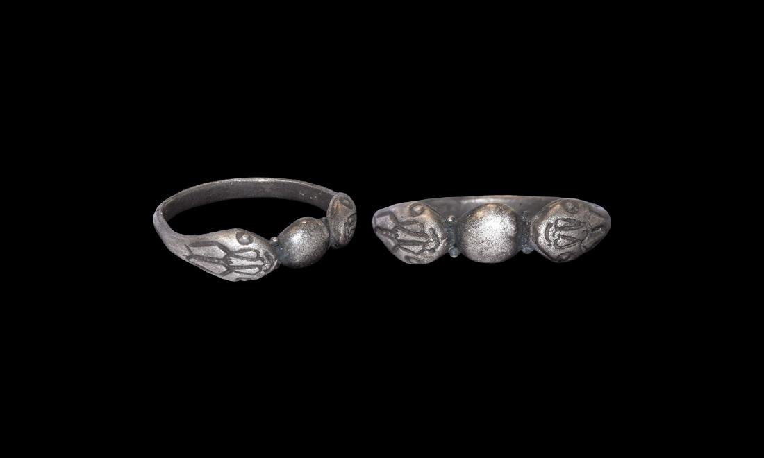 Egyptian Silver Ring with Snake Heads