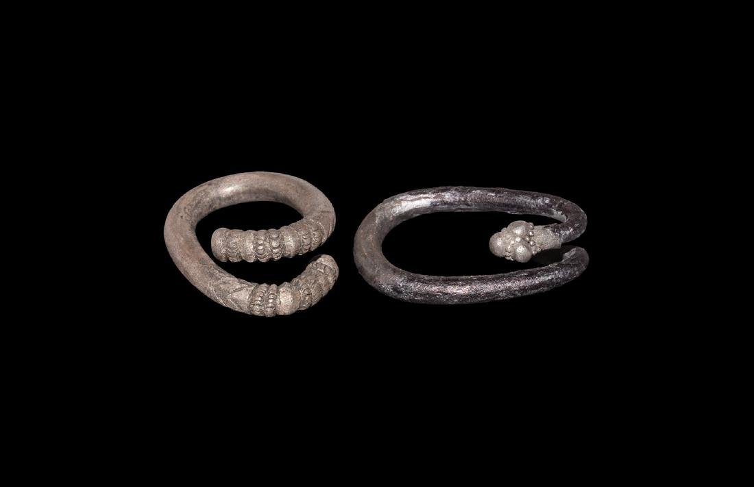 Greek Decorated Hair Ring Pair