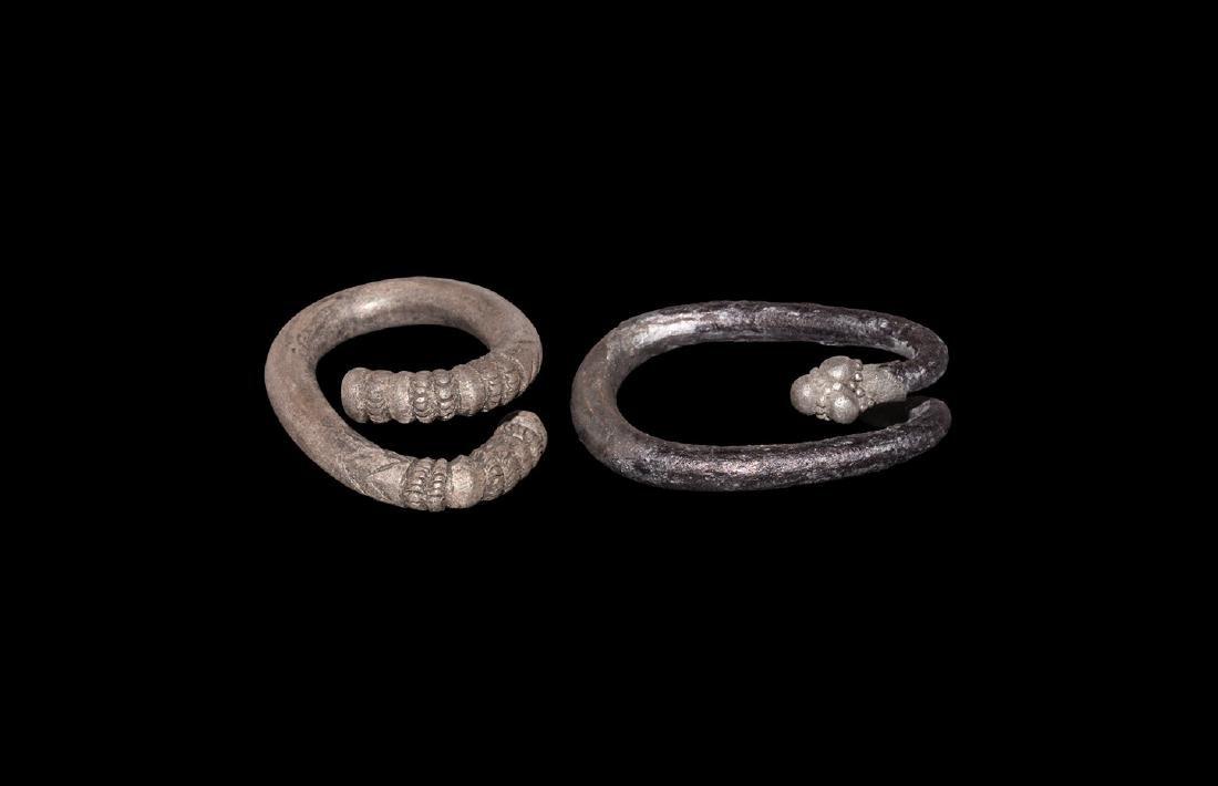 Greek Decorated Hair Ring Pair