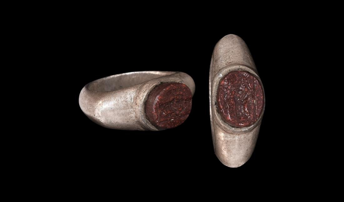 Roman Silver Ring with Goddess Flora Intaglio