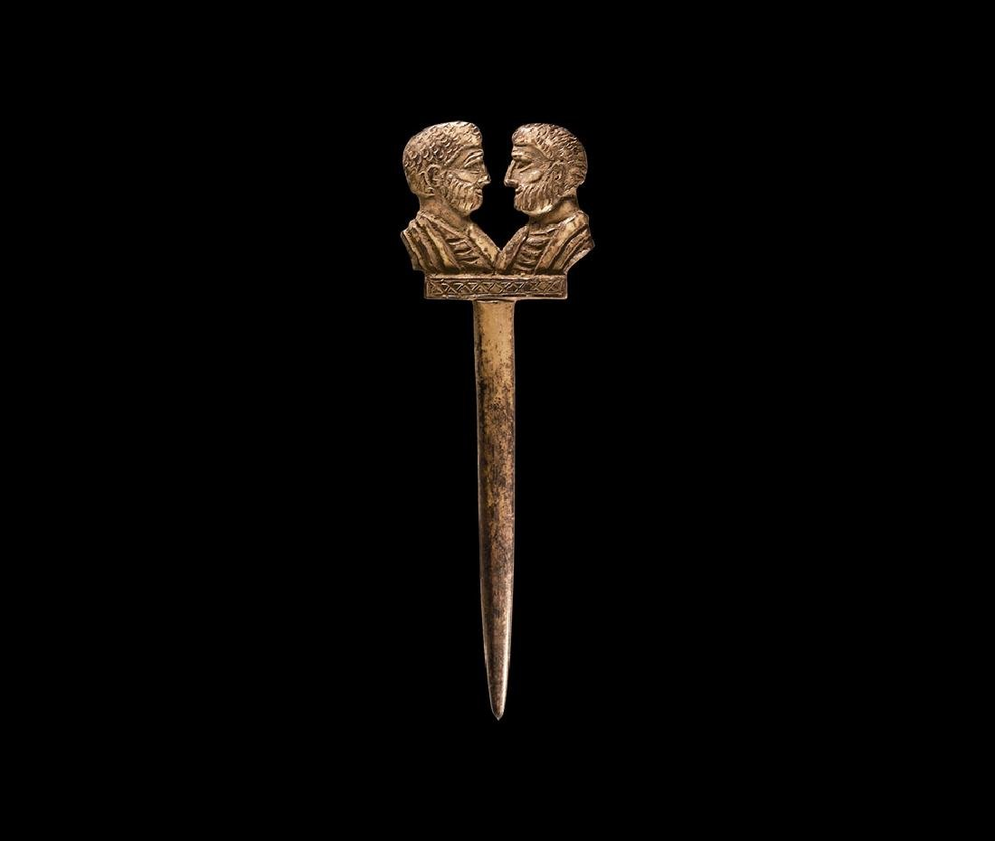Roman Bone Pin with Imperial Busts